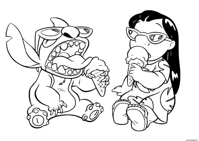 Coloriage Stitch Et Lilo Profite De Lete Pour Manger Une Creme
