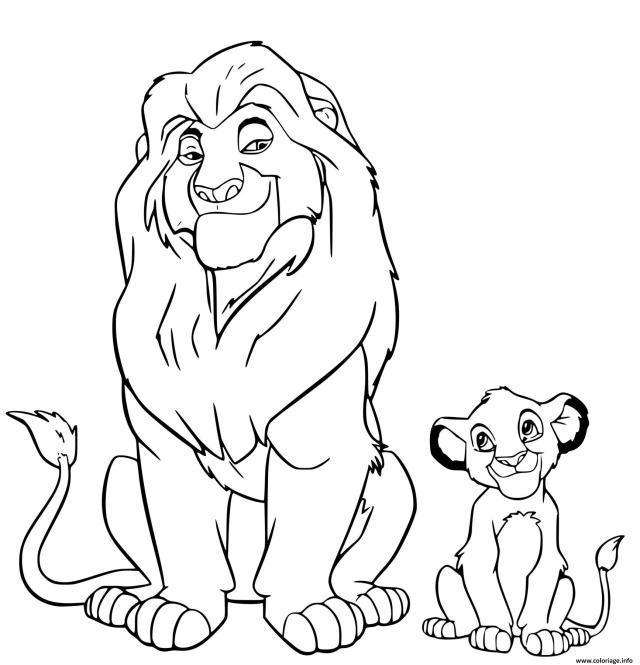 Coloriage Simba Et Son Pere Mufasa Dessin Simba à imprimer