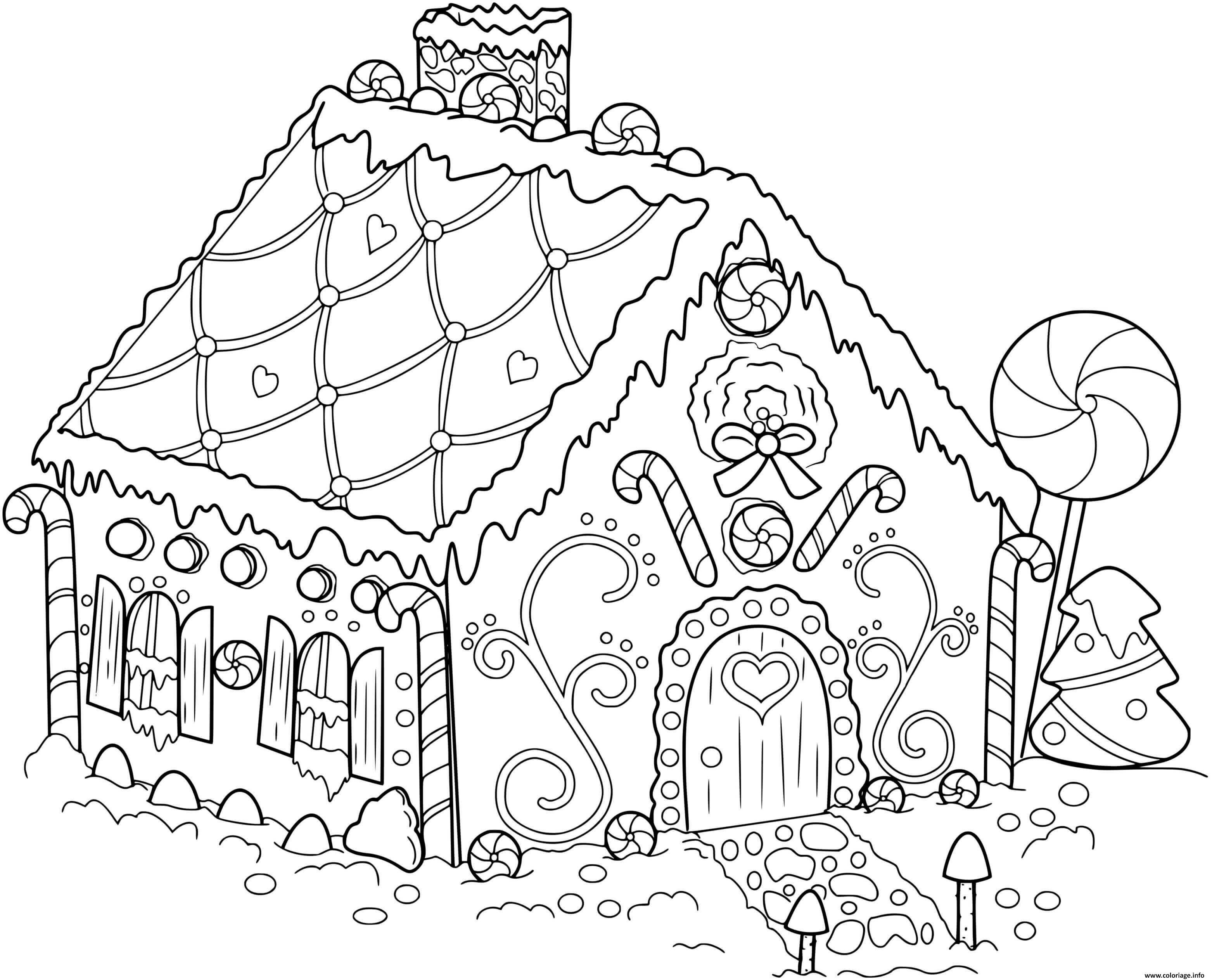 Coloriage Maison Pain Depices Dans Un Village De Noel Dessin Maison En Pain Depices A Imprimer