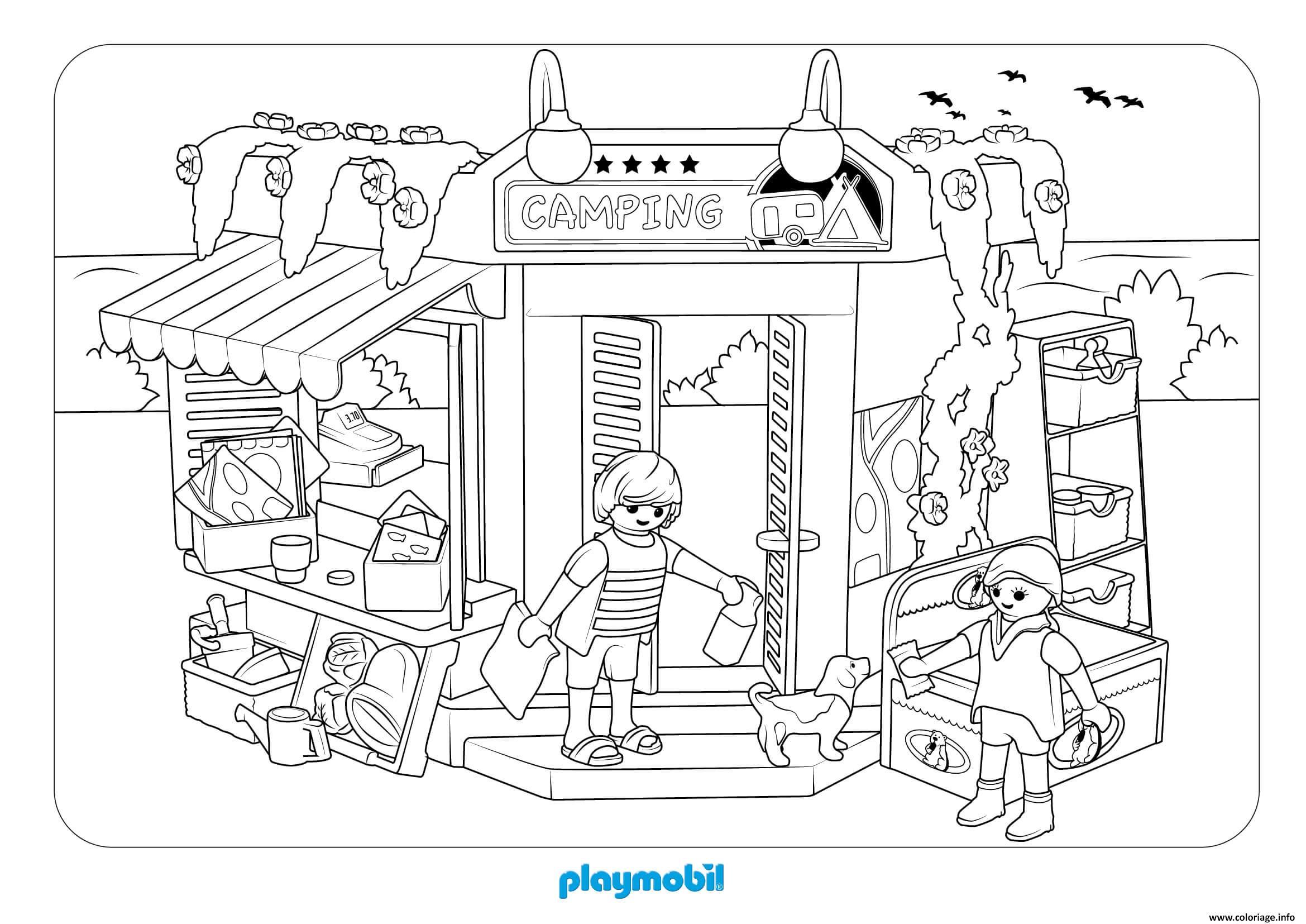 Coloriage Playmobil Camping Dessin Playmobil A Imprimer