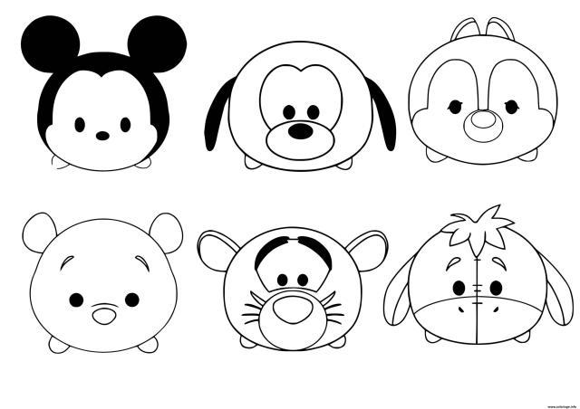 Coloriage Tsum Tsum Disney Facile Dessin Facile à imprimer