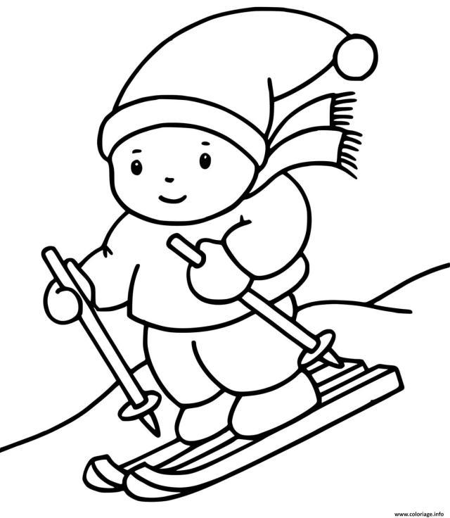 Coloriage Un Enfant Fait Du Ski Sport Dhiver Dessin Hiver à imprimer