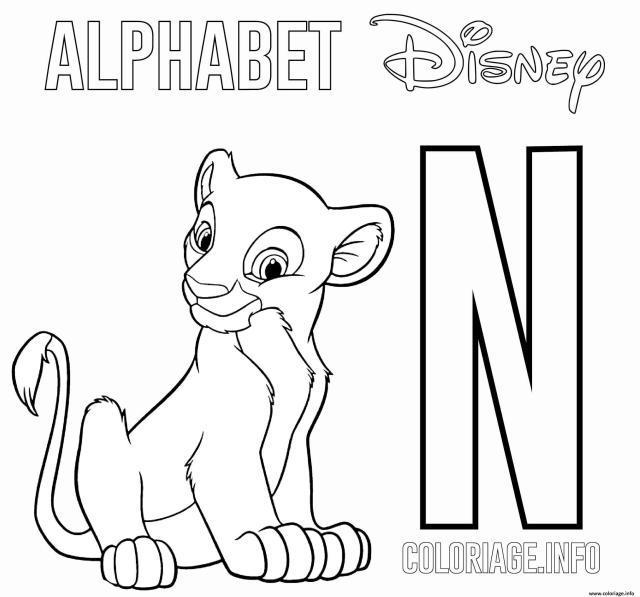 Coloriage Lettre N Pour Nala De Lion King Disney Dessin Alphabet