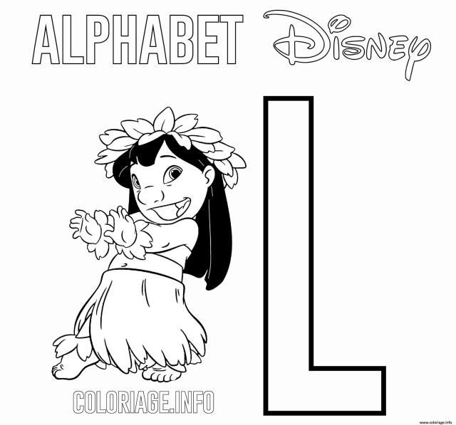 Coloriage Lettre L Pour Lilo De Lilo And Stitch Disney Dessin