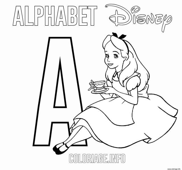Coloriage Lettre A Pour Alice Dessin Alphabet Disney à imprimer
