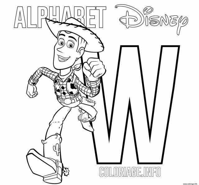 Coloriage Lettre W Woody Alphabet Disney Dessin Alphabet Disney à