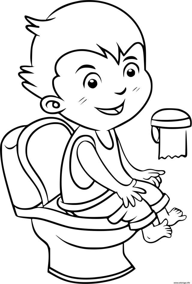 Coloriage Un Enfant Au Toilette Pour Faire Ses Besoins Et Rester