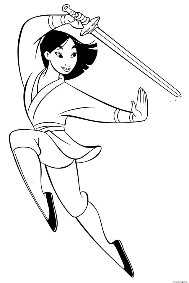 Coloriage Fa Mulan Inspire Par Le Personnage Legendaire Chinois