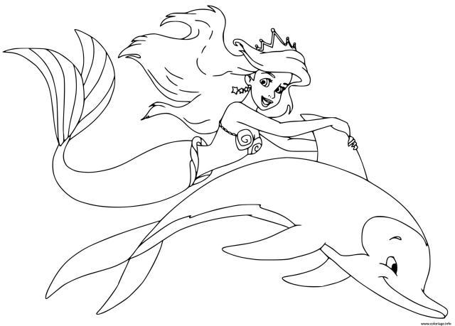 Coloriage La Petite Sirene Ariel La Plus Jeune Des 28 Filles Du Roi