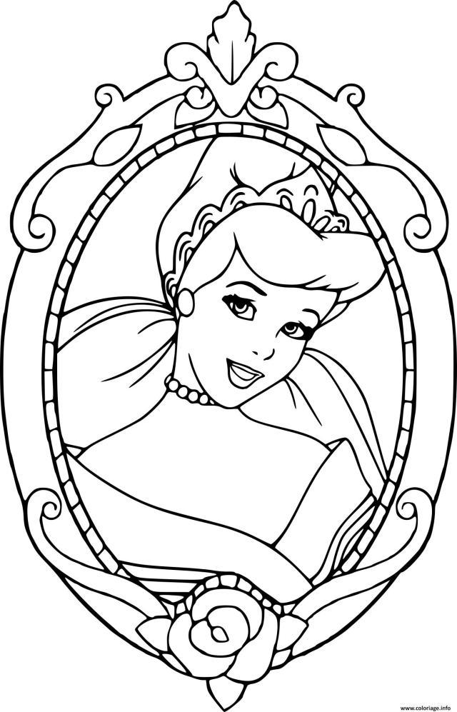 Coloriage Visage De Cendrillon Cadre Dessin Cendrillon à imprimer