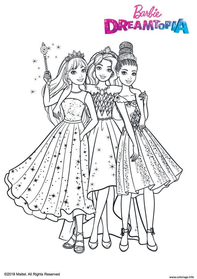 Coloriage Princesse Au Royaume Des Paillettes Dessin Barbie à imprimer