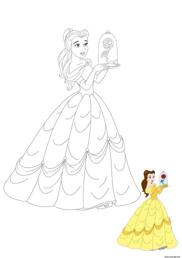 Coloriage Princesse Belle With Rose Dessin Princesse à imprimer