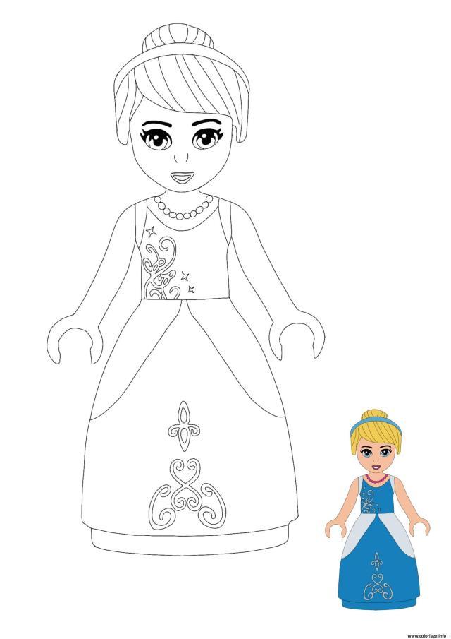 Coloriage Lego Princesse Cinderella Dessin Princesse à imprimer