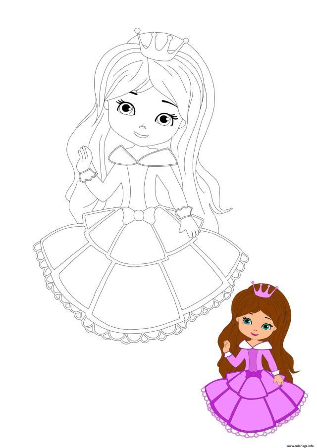 Coloriage Petit Fille Princesse Dessin Princesse à imprimer
