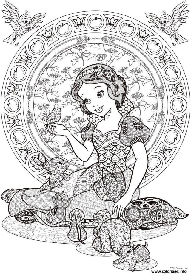 Coloriage princesse blanche neige disney adulte - JeColorie.com