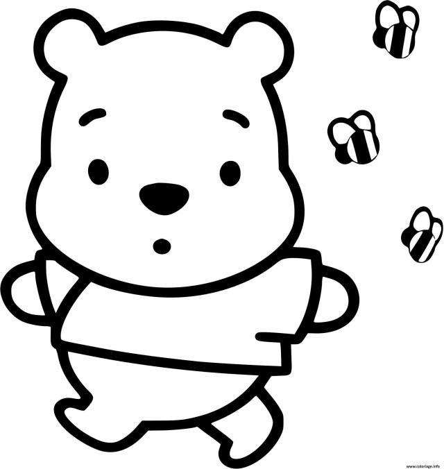 Coloriage Winnie Ourson Enfant Bebe Dessin Disney Bebe à imprimer