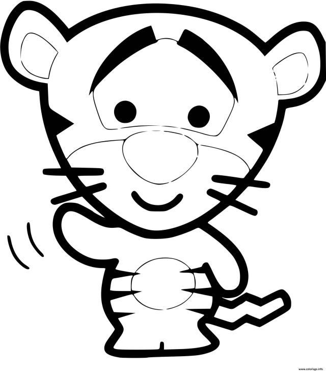 Coloriage tigrou bebe te salut - JeColorie.com
