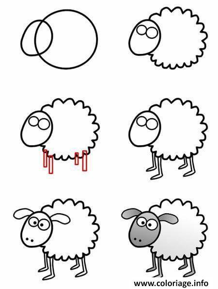 Coloriage Mouton Dessin Animaux Facile Dessin Dessin Facile A Imprimer