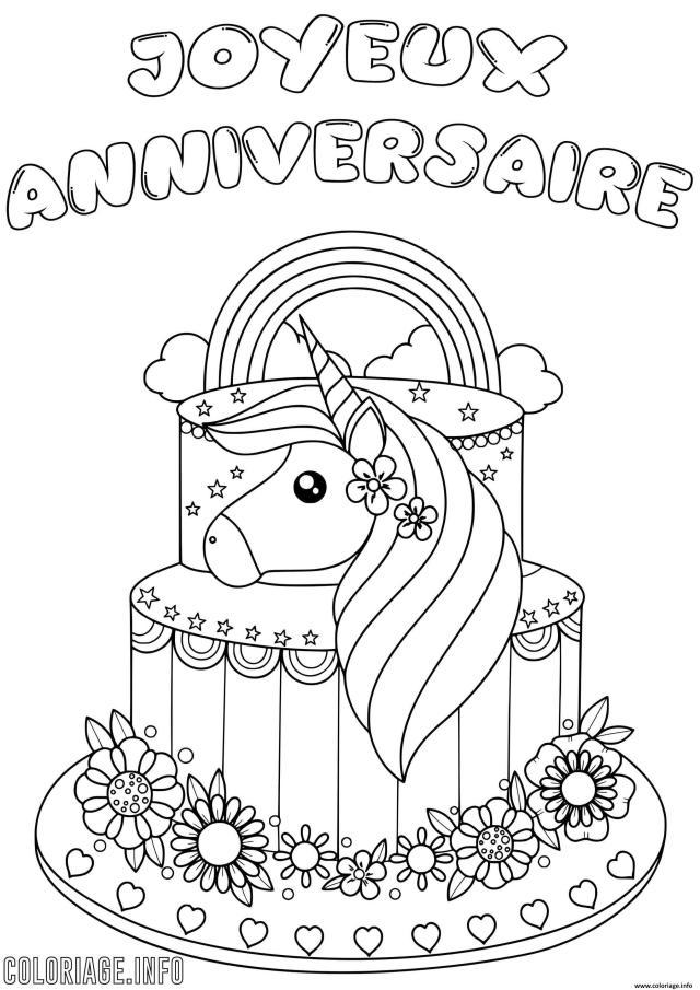 Coloriage Joyeux Anniversaire Licorne Dessin Anniversaire à imprimer