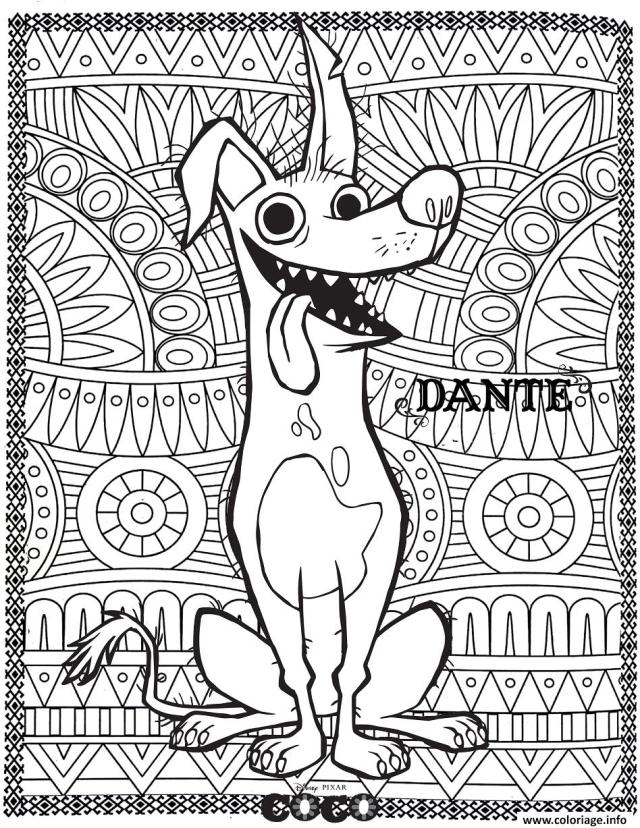 Coloriage Disney Coco Dante Fond Mandala Adulte Dessin Mandala