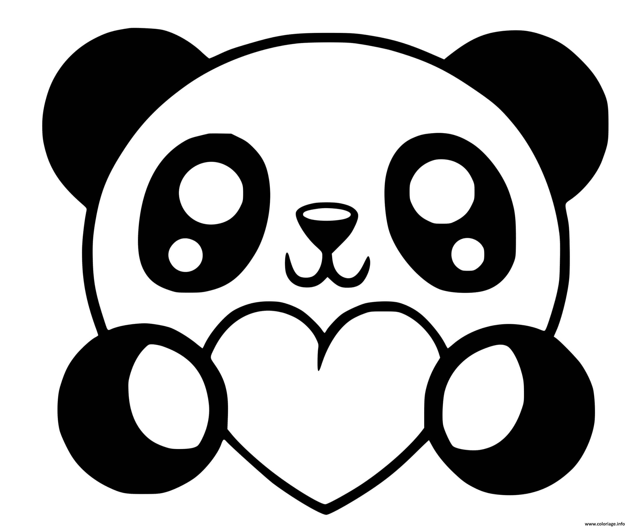 Coloriage Panda Kawaii Avec Coeurs Dessin Panda A Imprimer
