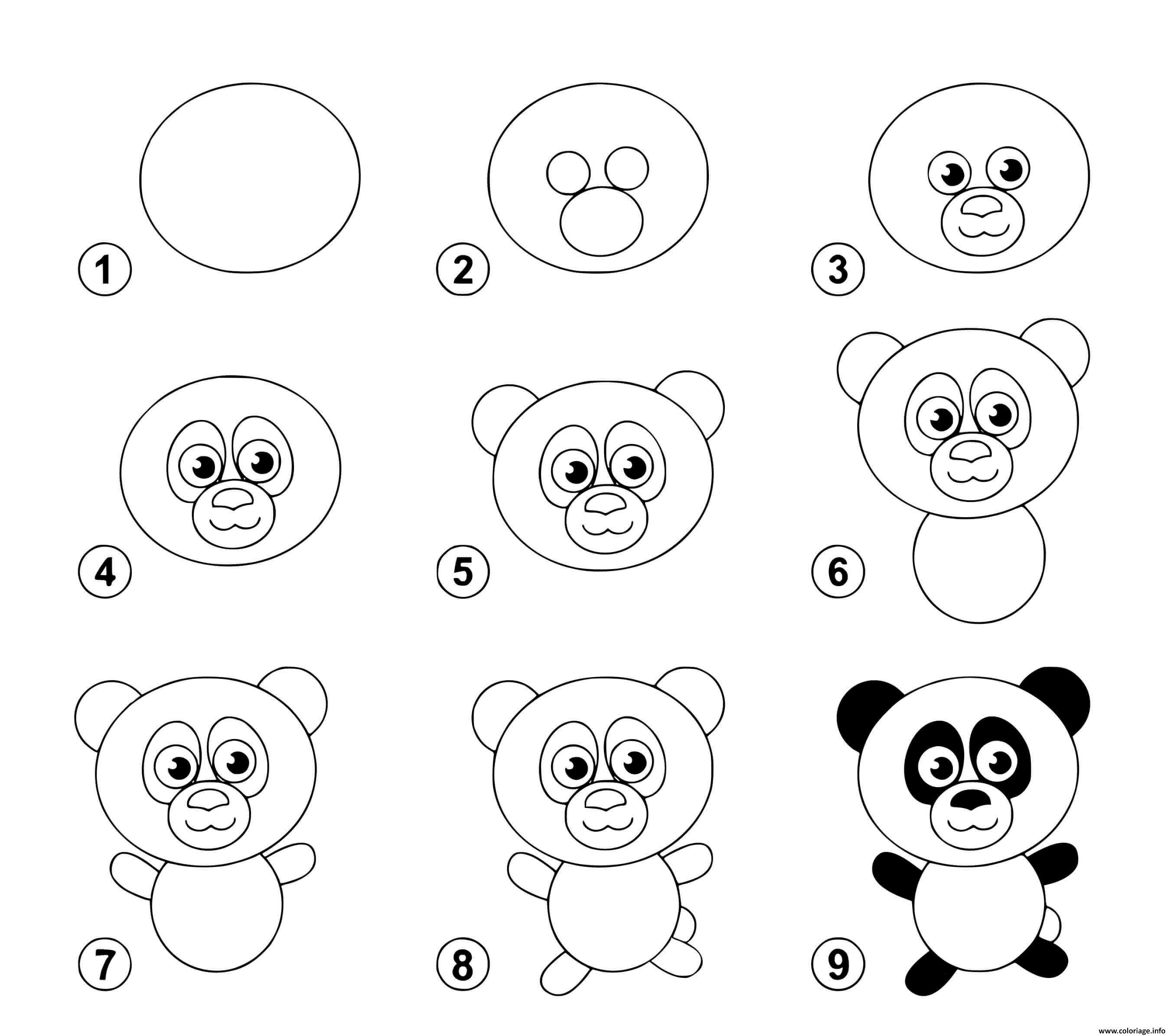 Coloriage Dessin Facile Un Panda Dessin Panda A Imprimer