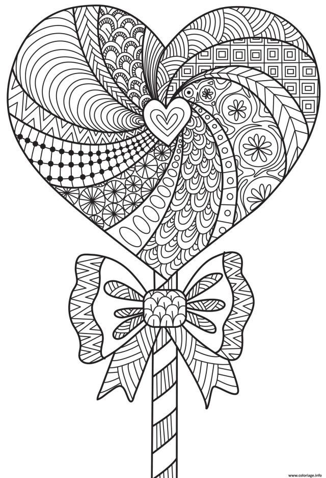 Coloriage Mandala Coeur Motifs Fleurs Adulte Dessin Adulte à imprimer