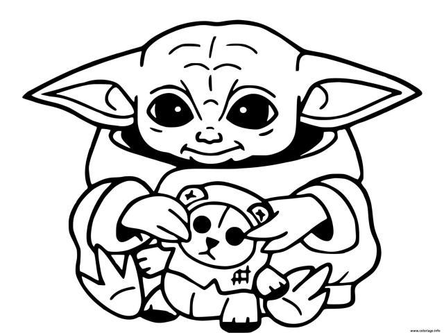 Coloriage Baby Yoda Mandalorian Au Temple Jedi Dessin Bebe Yoda à