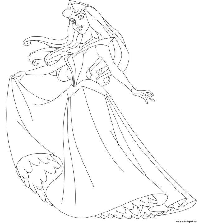 Coloriage Aurore Et Sa Belle Robe De Princesse Dessin Aurore à