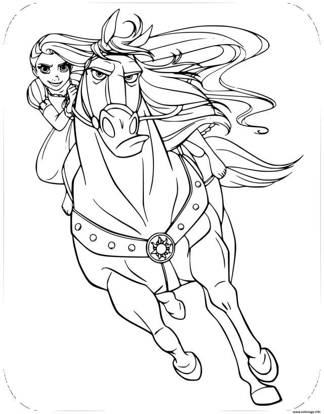 Coloriage Princesse Raiponce Et Son Cheval Maximus Dessin Raiponce