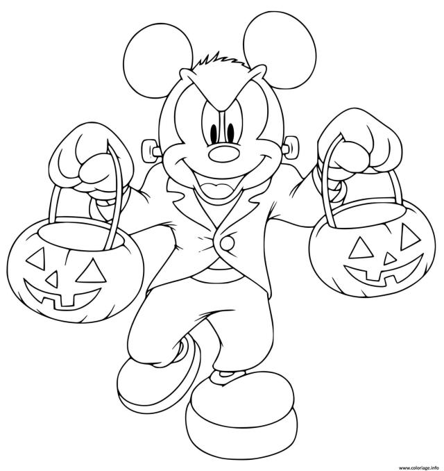 Coloriage Mickey Mouse Frankenstein Zombie Monstre Dessin