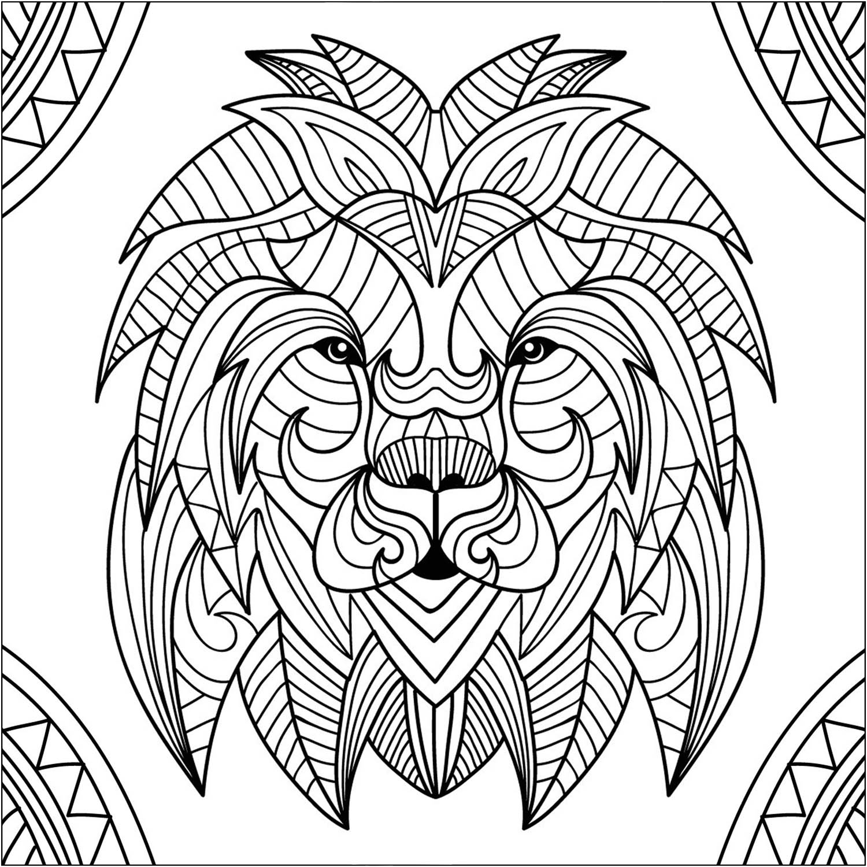 Coloriage Mandala Mandala Lion   Novocom.top