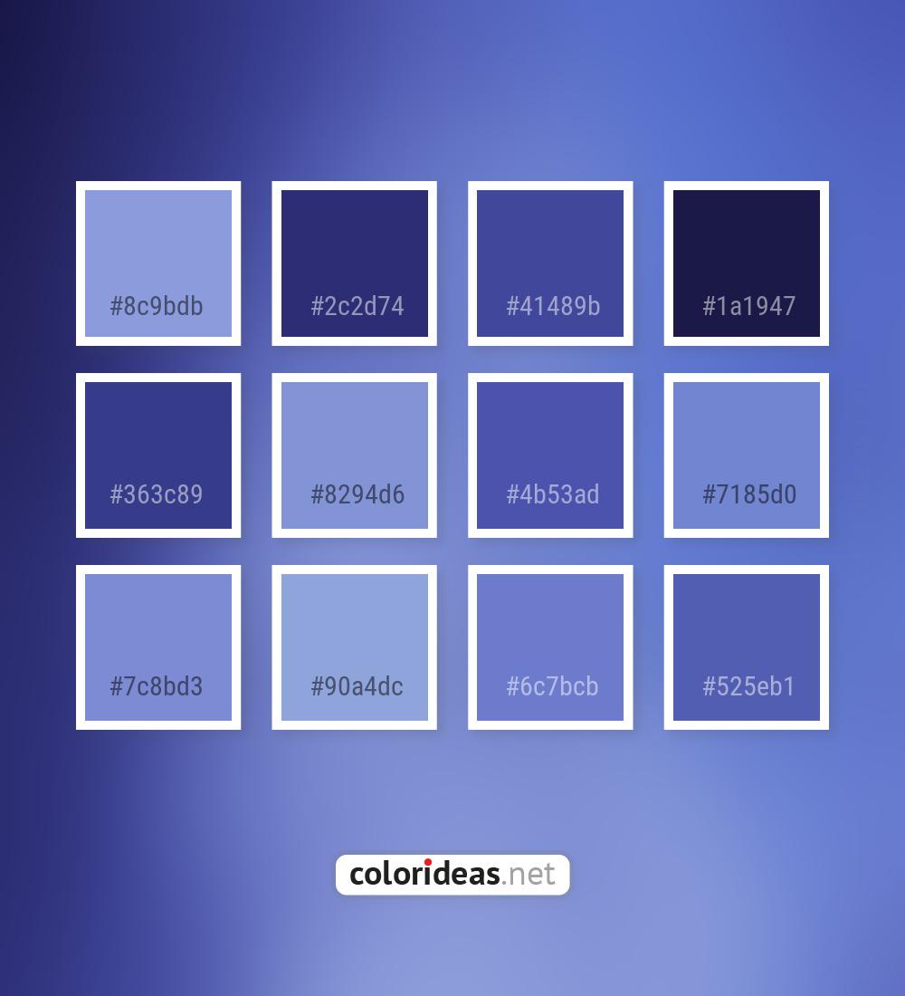 Chetwode Blue Purple 8294d6 4b53ad Color Palette Color Palette Ideas
