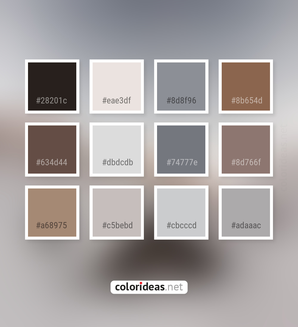 Cocoa Brown Dark Gray Smoked Kabul Dim Gray Color Palette Color Palette Ideas
