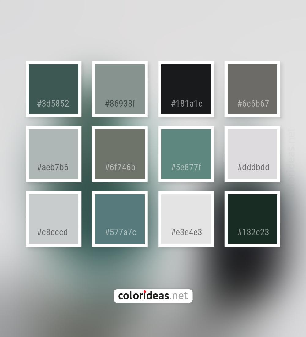 Mineral Green Dark Gray Smoked Purple Dark Sea Green Color Palette Color Palette Ideas