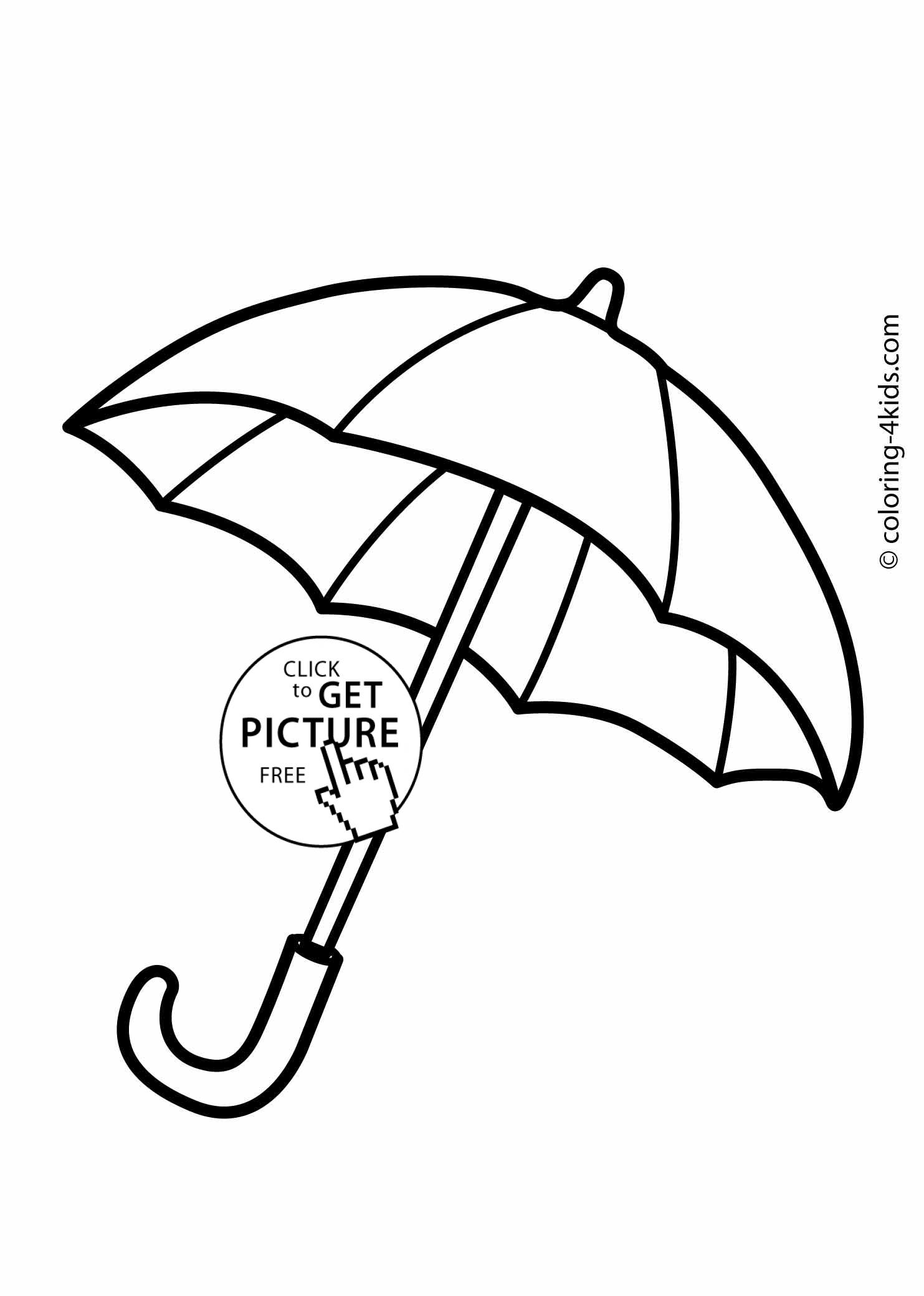 Umbrella Coloring Pages For Kids Printable Drawing