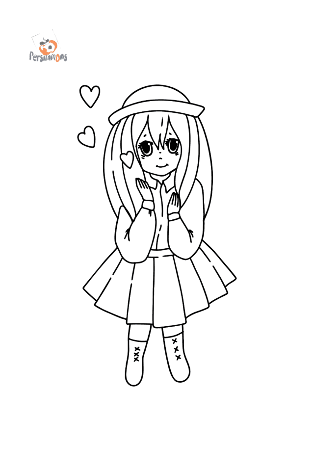 Anime girl in love coloring page ♥ Online and Print for Free!