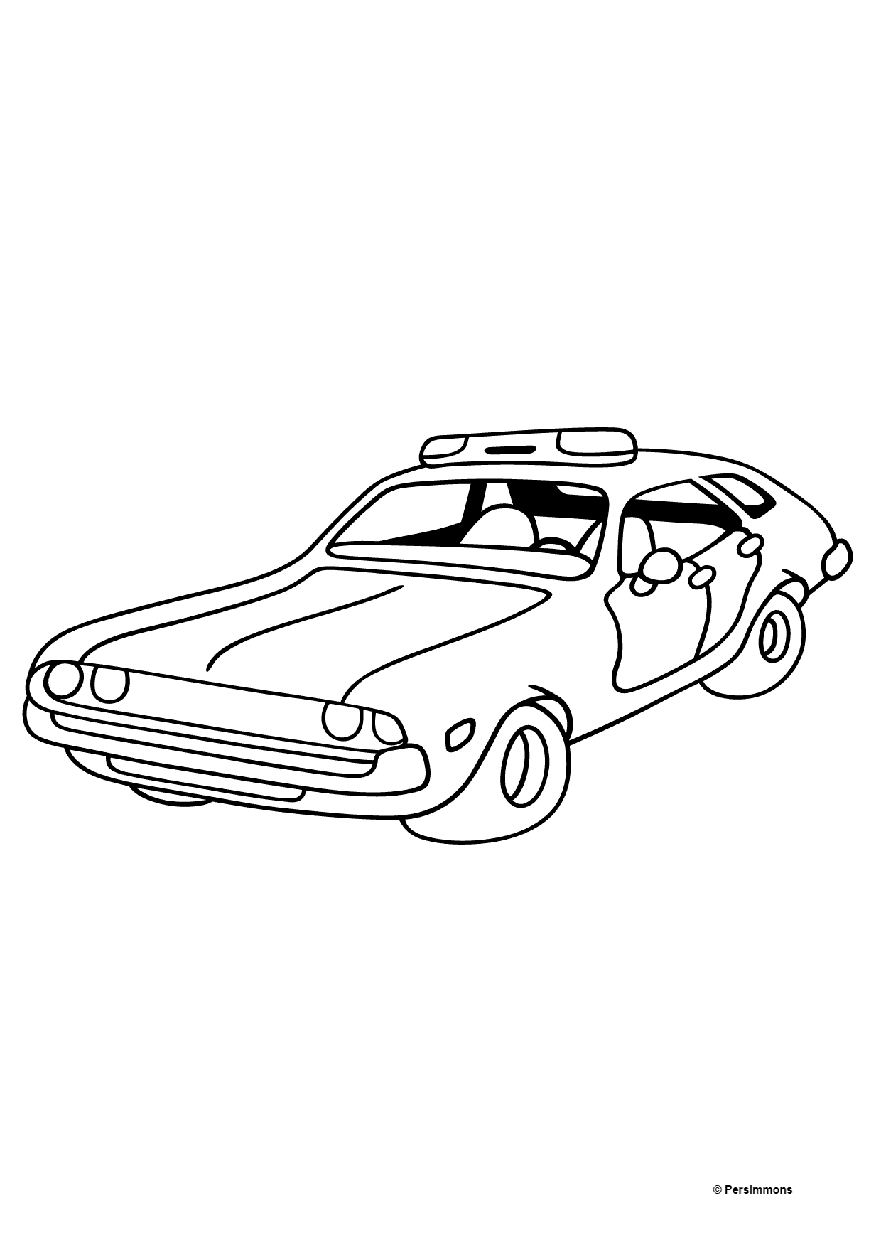 Coloring Page A Red And White Police Car Print A4