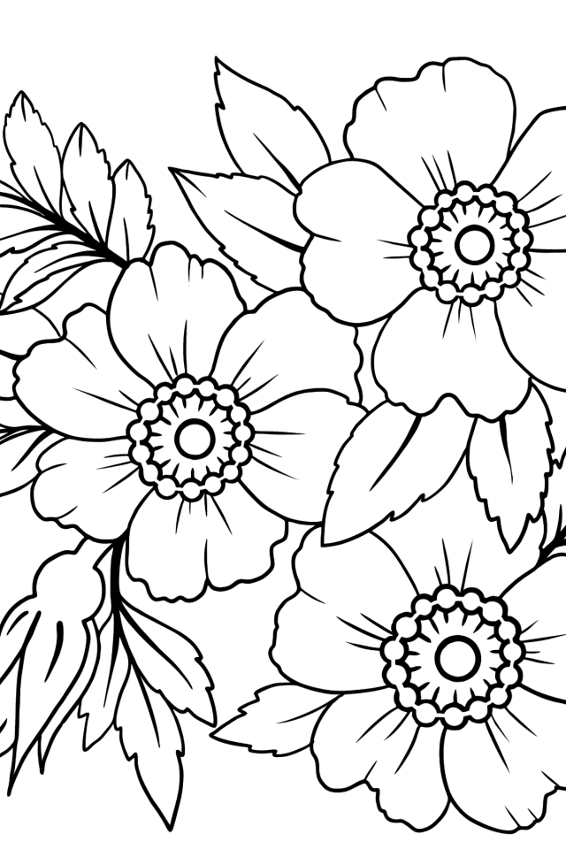 Flowers Coloring Pages for girls - Print (A29), and Color Online