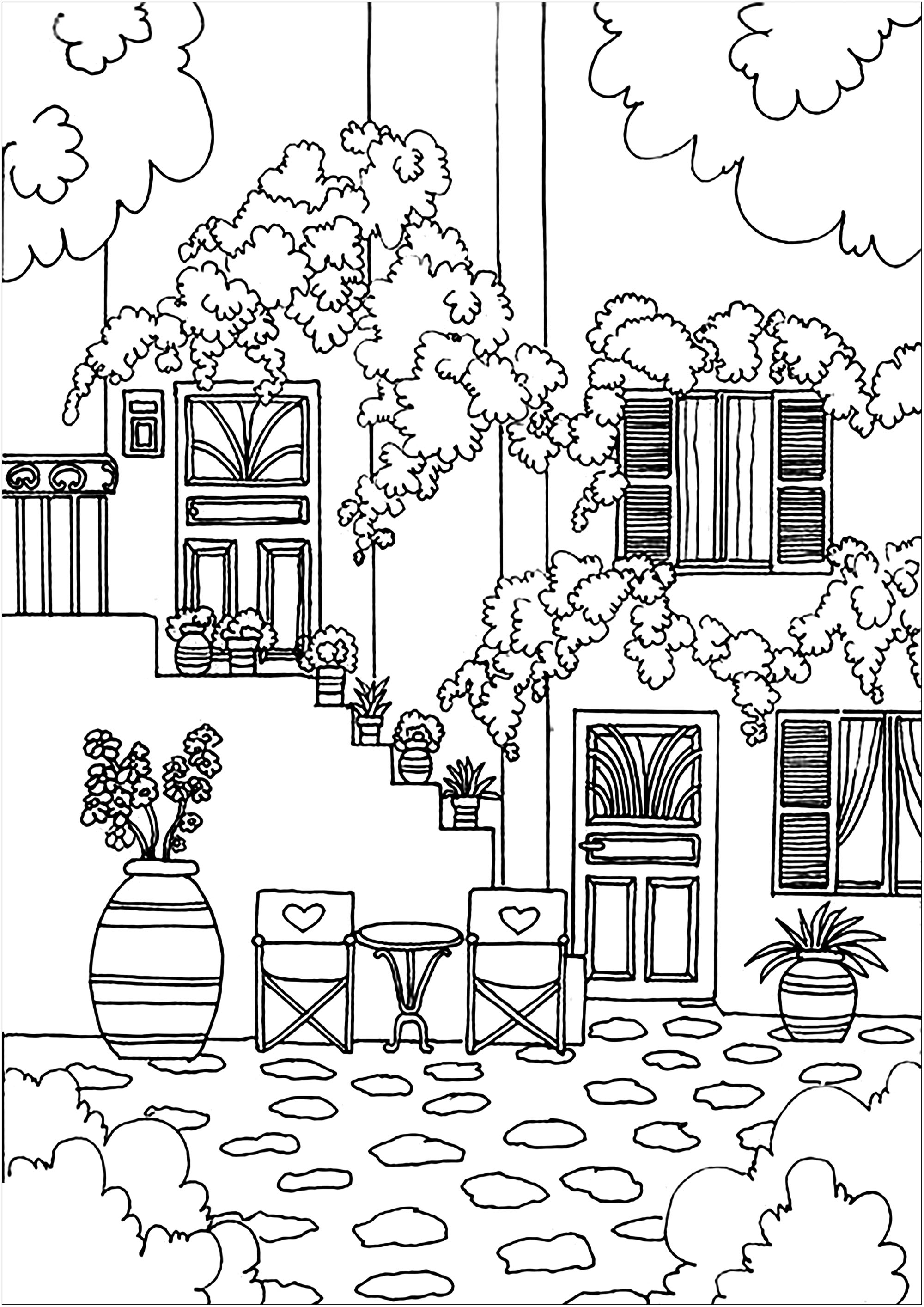 Free Collection Of Architecture And Living Coloring Pages