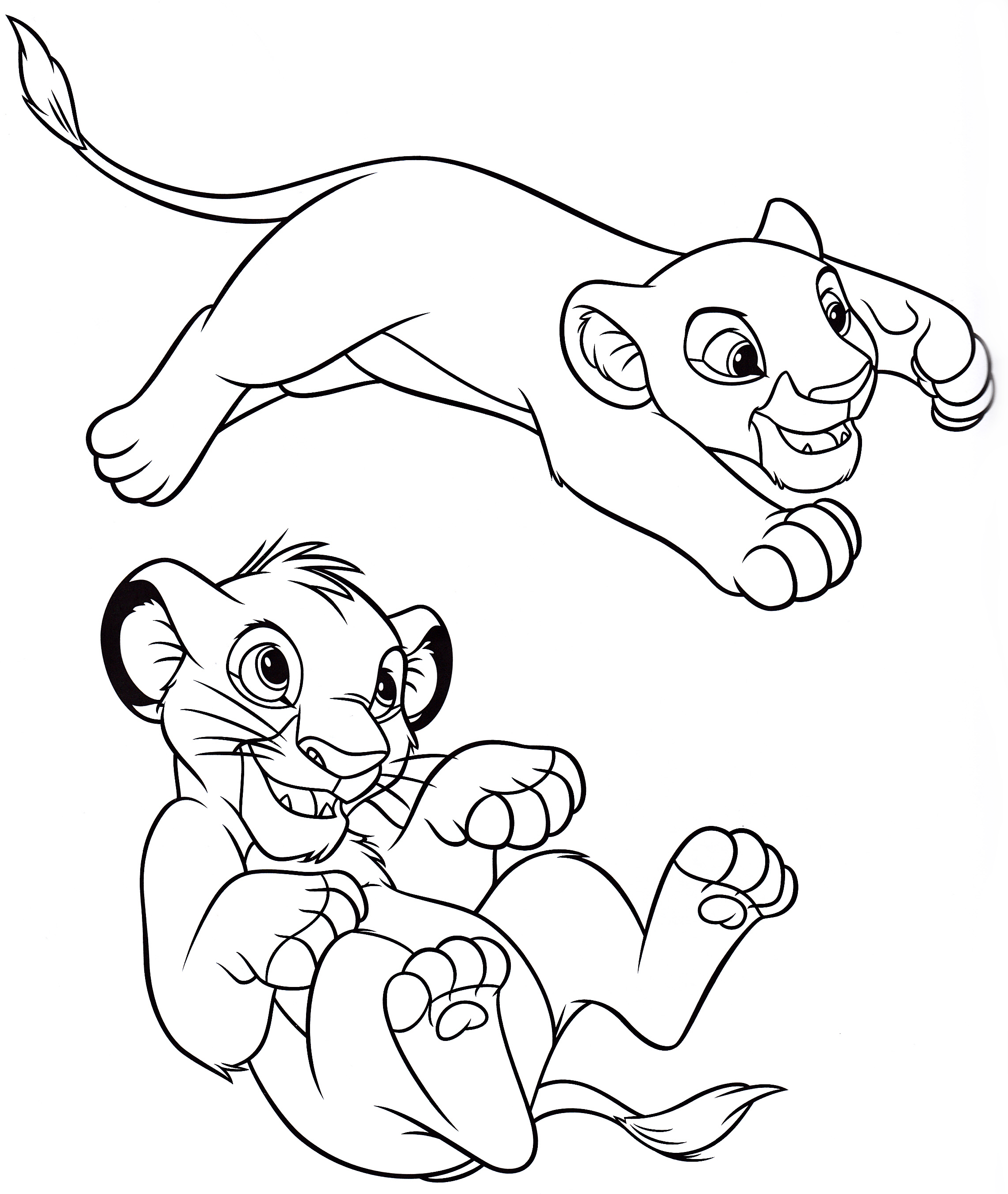 Simba And Nala Under Hippo Coloring Page