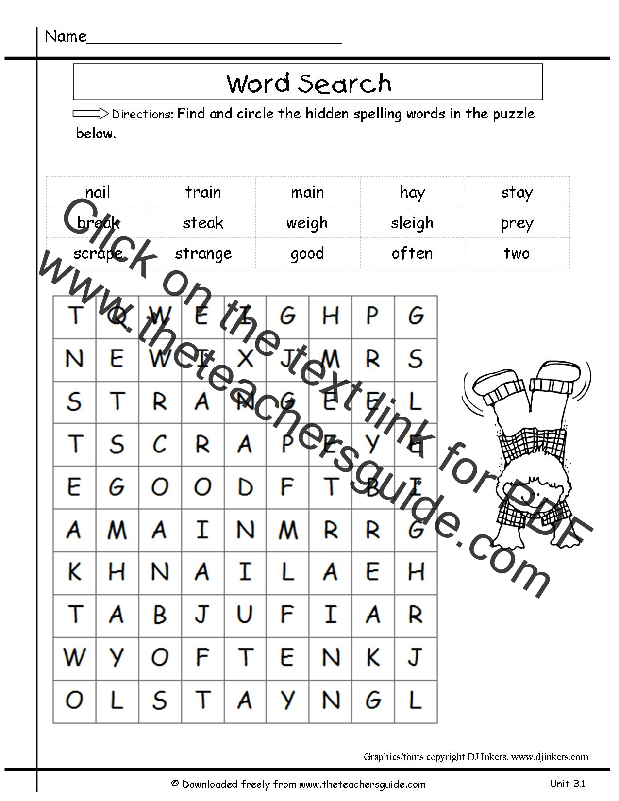 1st Grade Grammar Word Search
