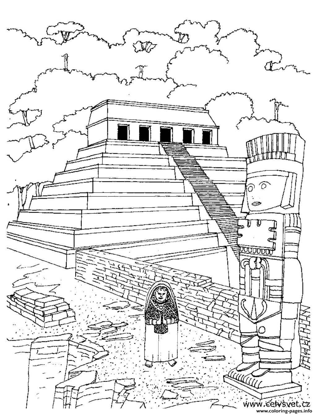 Adult Temple Aztec Coloring Pages Printable