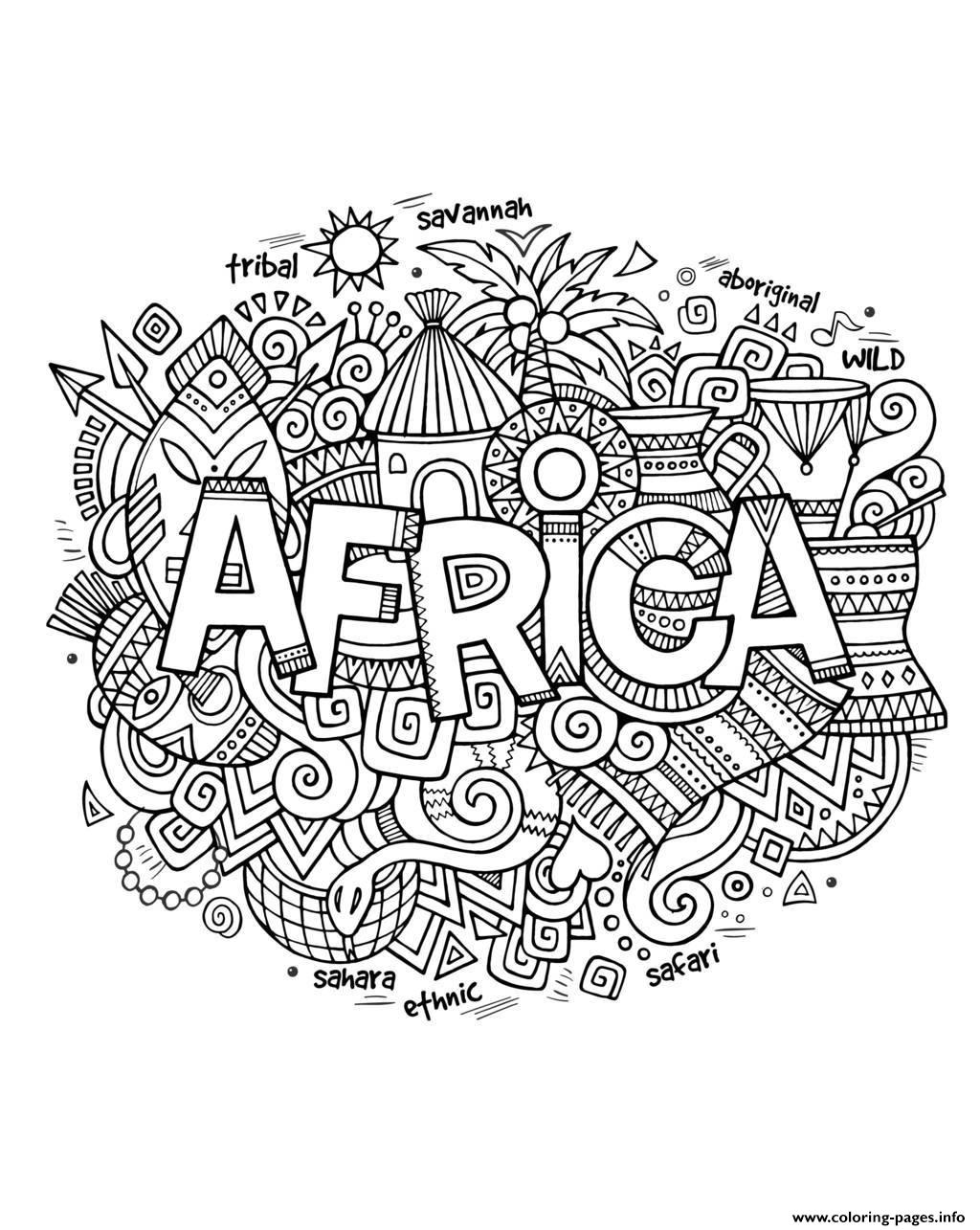 Adult Africa Abstract Symbols Coloring Pages Printable