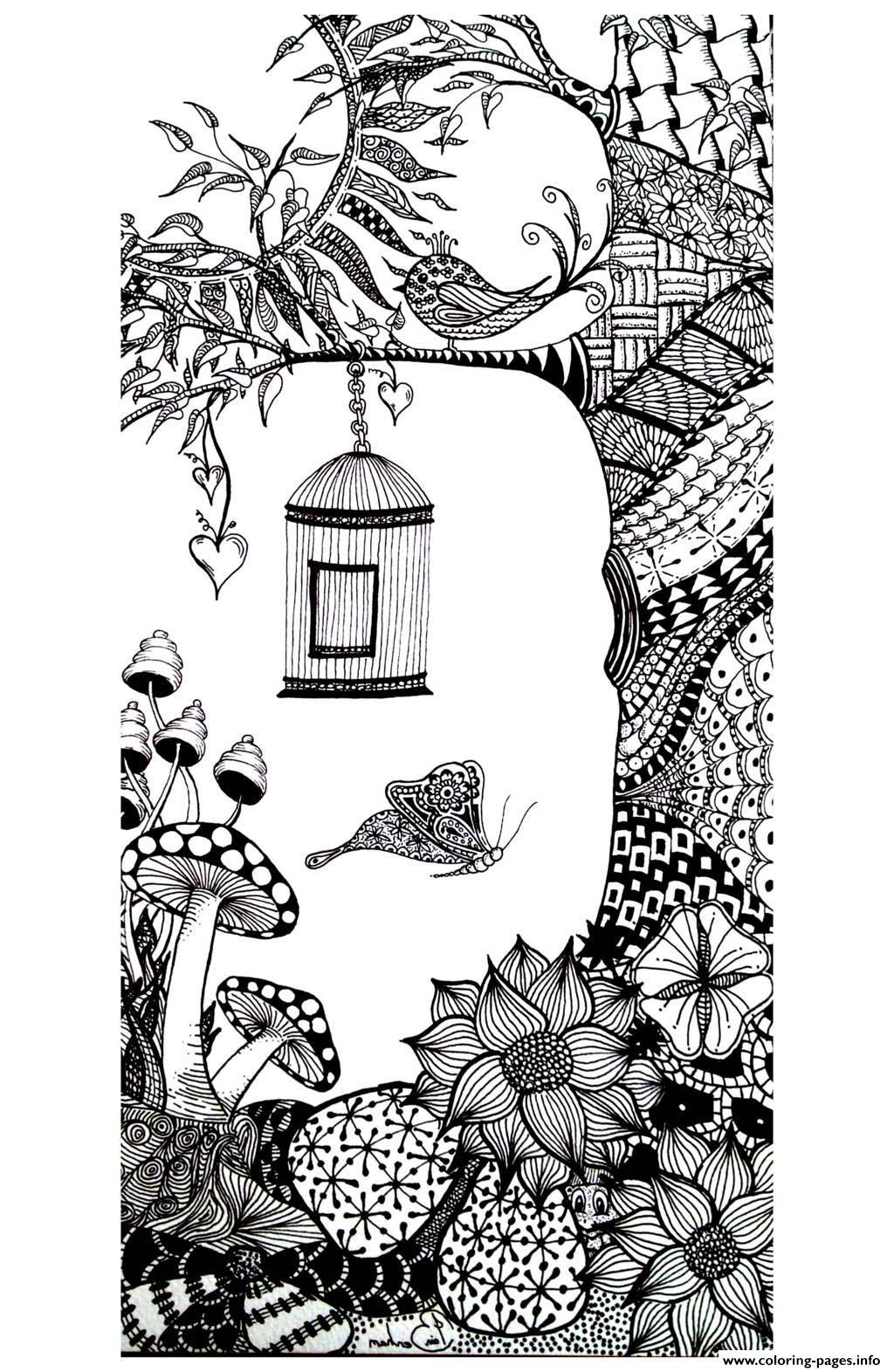 Adult Animals Bird Butterfly Coloring Pages Printable