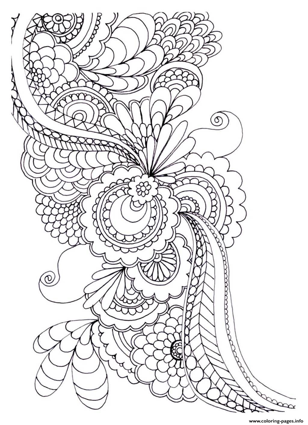 Adult Zen Anti Stress To Print Drawing Flowers Coloring Pages Printable