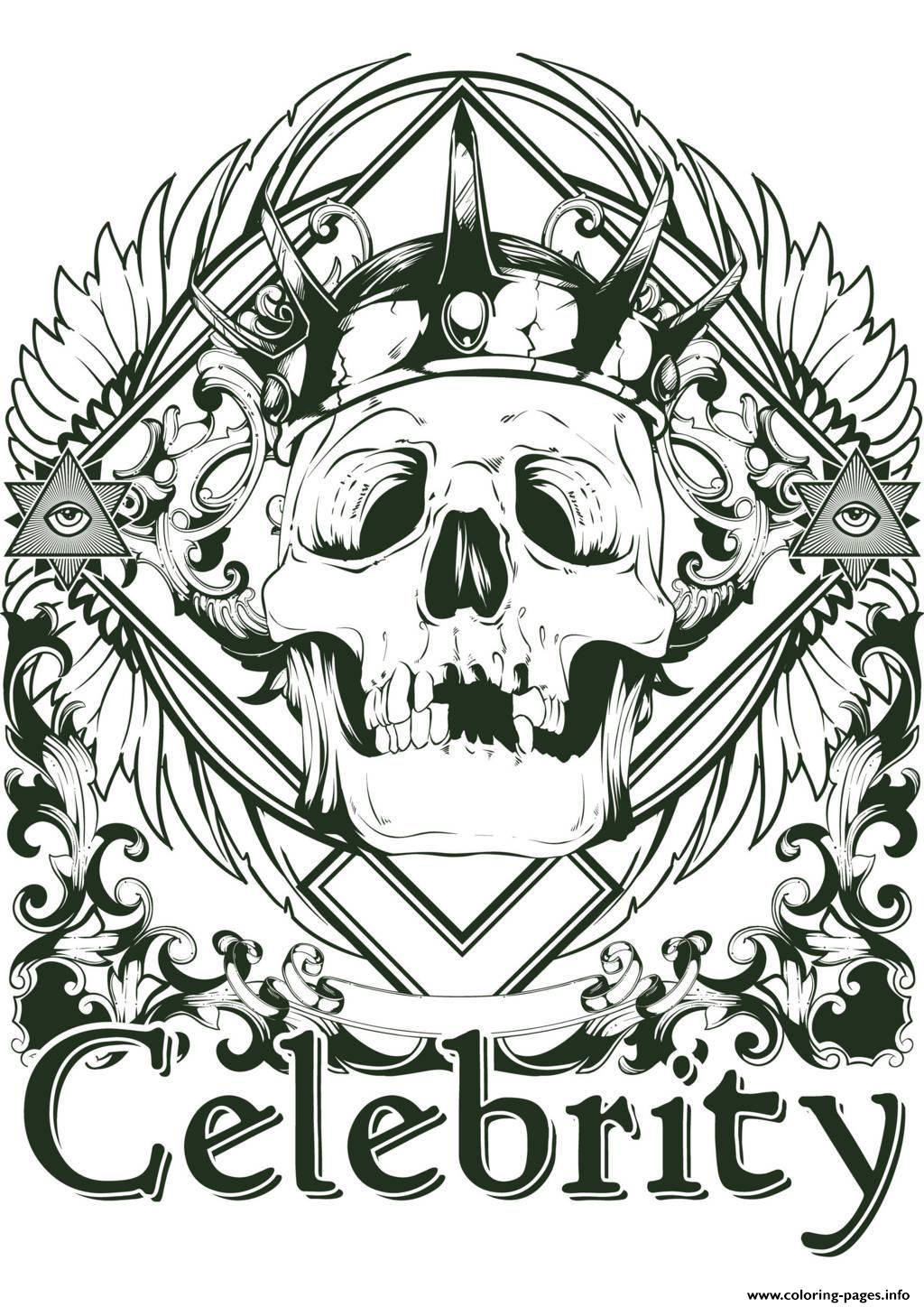print adult tattoo skeleton celebrity coloring pages free printable