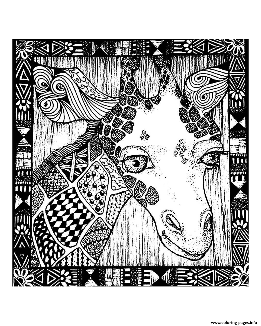 Adult Africa Giraffe Head Coloring Pages Printable