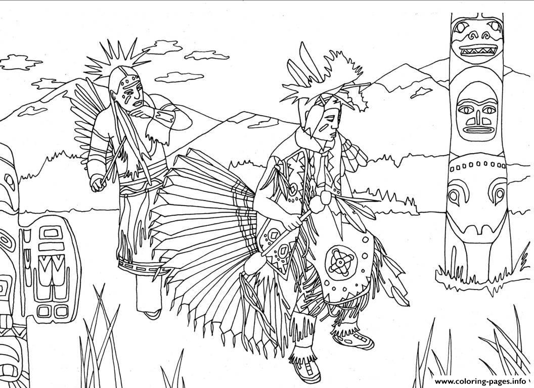 Adult Native Americans Indians Danse Totem By Marion C