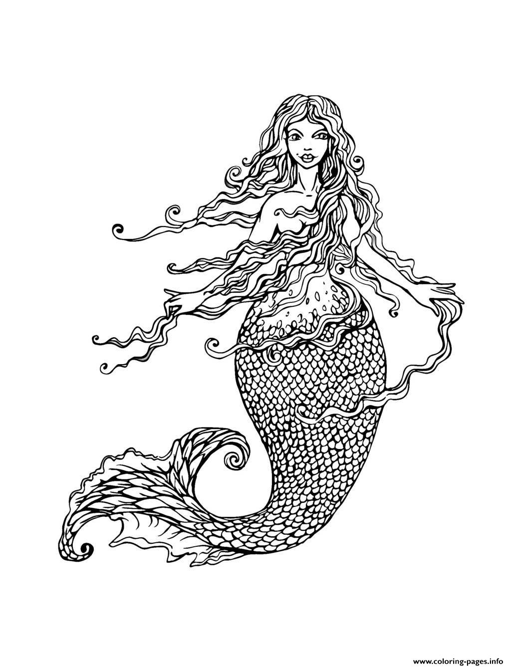 Adult Mermaid With Long Hair By Lian Coloring Pages Printable